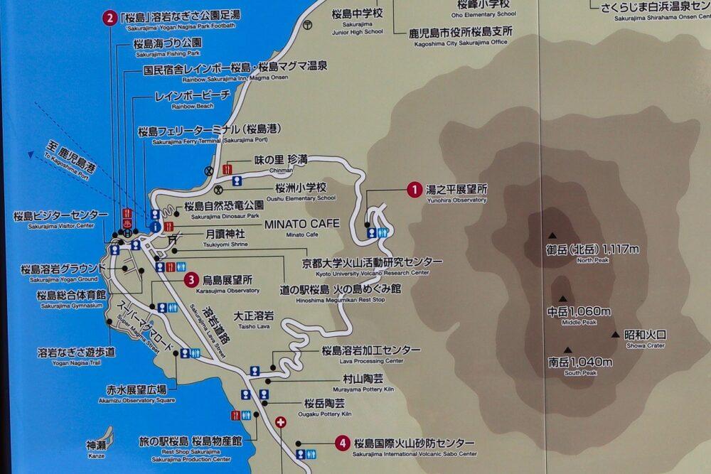 桜島map(桜島港付近)
