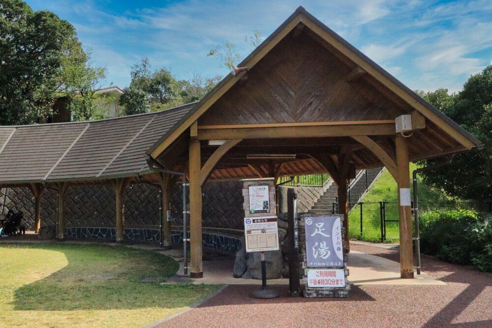 平川動物公園の足湯(インドゾウ)