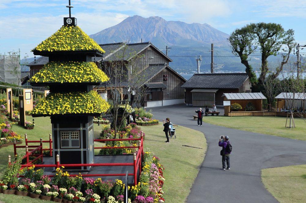 仙巌園の菊まつり