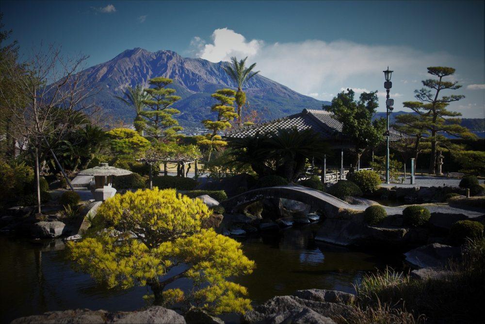 仙厳園の庭と桜島
