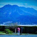 仙厳園の庭からの桜島